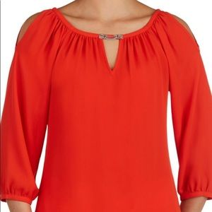 Peter Nygard Cold-Shouldered Keyhole Blouse - NWT